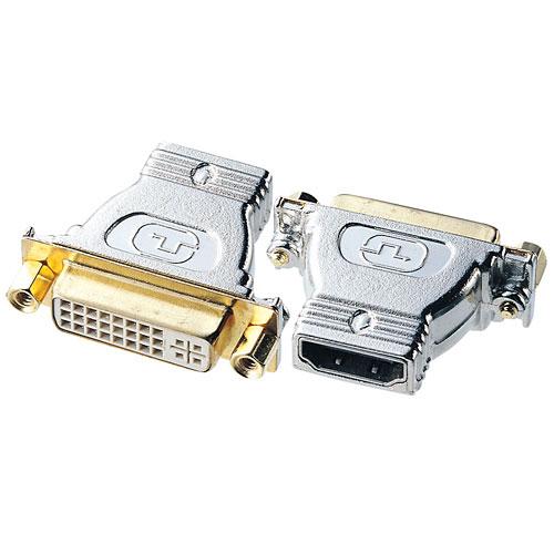 HDMIケーブルとDVIケーブルとを中継するアダプタ。