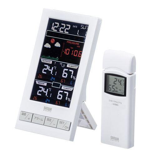 温湿度計(ワイヤレス・受信機1台+送信機1台) CHE-TPHU7 サンワサプライ