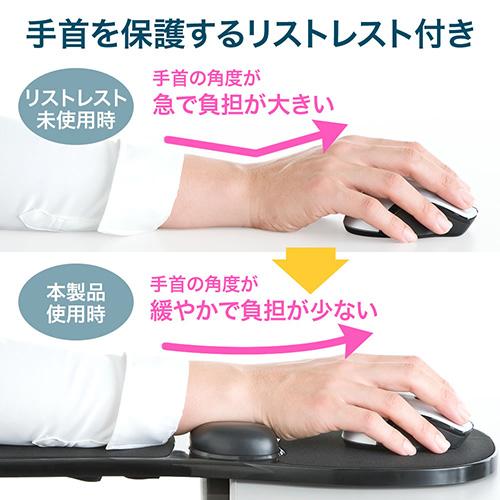 手首を保護するリストレスト付き