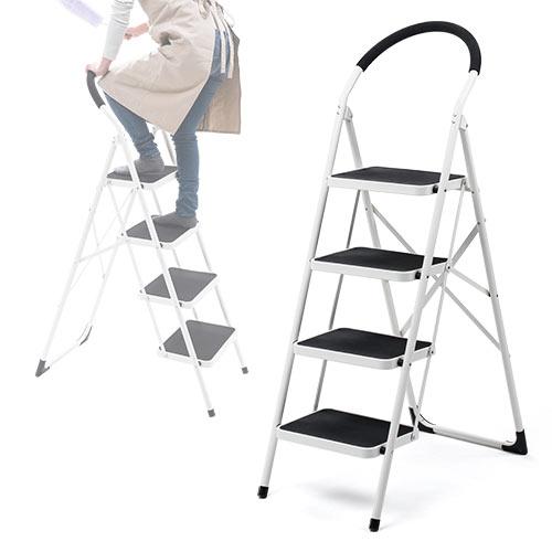高い場所での作業に便利な、折りたたみ式の4段脚立です。 持ち手付きで、安定して上り下りができます。おしゃれな見た目で、家庭用におすすめです。