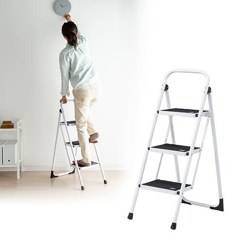 脚立(3段・ステップ・折りたたみ・踏み台・滑り止め・持ち手付き・手すり付き・安全・家庭用・おしゃれ) EEX-KYA8 イーサプライ