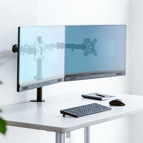 机の天板に取り付けるクランプ式のモニターアームです。モニターの回転、上下・左右の角度調整、高さの調整が可能です。2画面を設置できます。