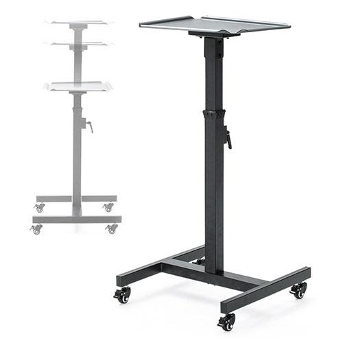 キャスター付きのシンプルな形で、マルチに使えるサイドテーブルです。 無段階で高さ調整可能な昇降式だから、講演などの置台やノートPC台・プロジェクター台としておすすめです。