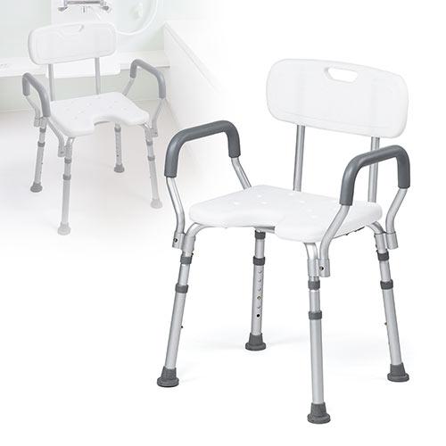 シャワーチェア(介護・背付・肘付・風呂・イス・シャワー椅子・高さ調節・軽量・アルミ) EEX-SUPA15 イーサプライ