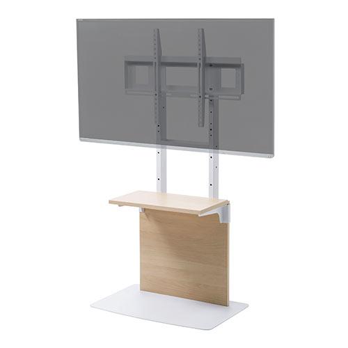 テレビスタンド(壁寄せ・32型/40型/43型/49型/50型/52型/55型対応・着脱可能棚板・3段階高さ調整・固定脚・薄い木目)