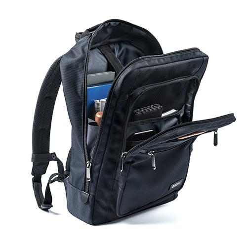 44317c15f394 ビジネスリュック(大容量・薄型・軽量・ポケット・メンズ・パソコン・ペットボトル・通勤・ネイビー) EZ2-BAGBP015NV |  激安通販のイーサプライ