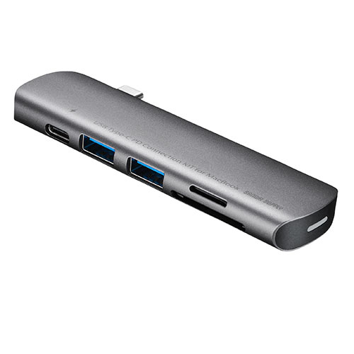 USB Type-Cポートへ接続できるカードリーダー。SD、microSDカードを読み込むことができるカードリーダー付きで、HDMIポートを1つ搭載し、ディスプレイなど大型モニターへ出力できる。