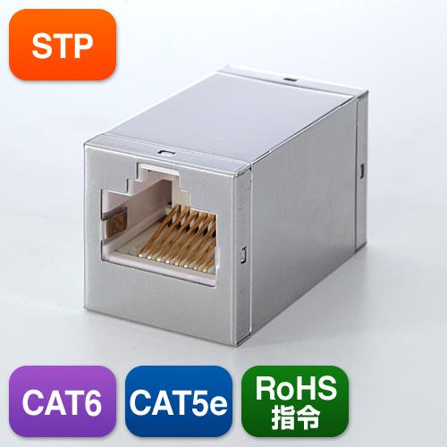 CAT6ケーブルを中継、延長可能なギガビット完全対応のSTP中継アダプタ。