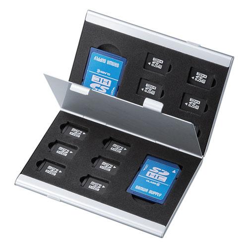 メモリーカードケース(microSDカードケース・最大14枚収納・アルミ製・両面収納) FC-MMC5MICN2 サンワサプライ
