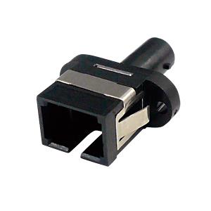 光ファイバケーブルを簡単に延長可能な光アダプタ。SCコネクタ-STコネクタ。