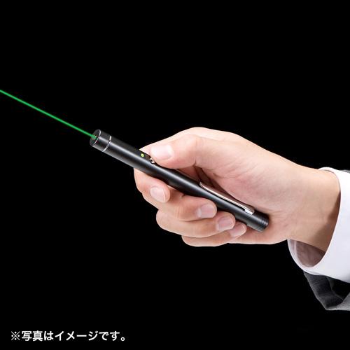胸ポケットに収納できるクリップ付き、視認性の良いグリーンレーザーポインター。