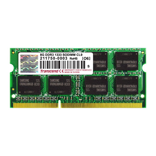 Transcend 8GB ノートPC用増設メモリ PC3-10600(DDR3-1333) TS1GSK64V3H