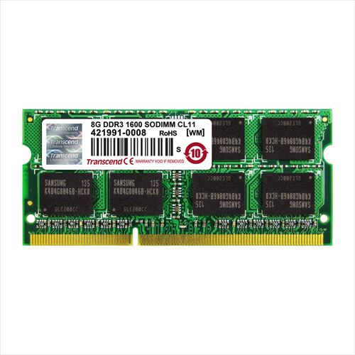 Transcend ノートPC用増設メモリ 8GB DDR3-1600 PC3-12800 SO-DIMM TS1GSK64V6H