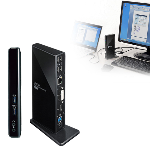 USBケーブル1本でHDMI/DVIディスプレイ出力、有線LAN接続、USBオーディオ接続、各種USBデバイスの拡張接続ができるUSB3.0ドッキングステーション。