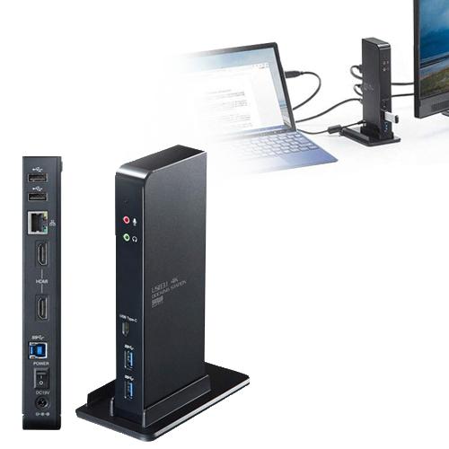 USBケーブル1本でHDMIディスプレイ2台出力、有線LAN接続、各種USBデバイスの拡張接続ができる4K対応のUSB3.1ドッキングステーション。簡易スタンド付き。