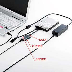 IDE・SATAからUSB2.0に変換できる変換ケーブル。IDEとSATAドライブを同時使用可能でデータの引っ越しが楽に。