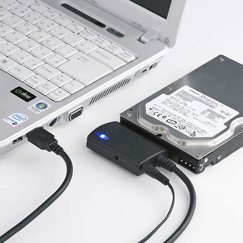 USB3.0対応で高速転送可能な簡単接続HDD・SSD・光学式ドライブ用シリアルATA変換ケーブル。